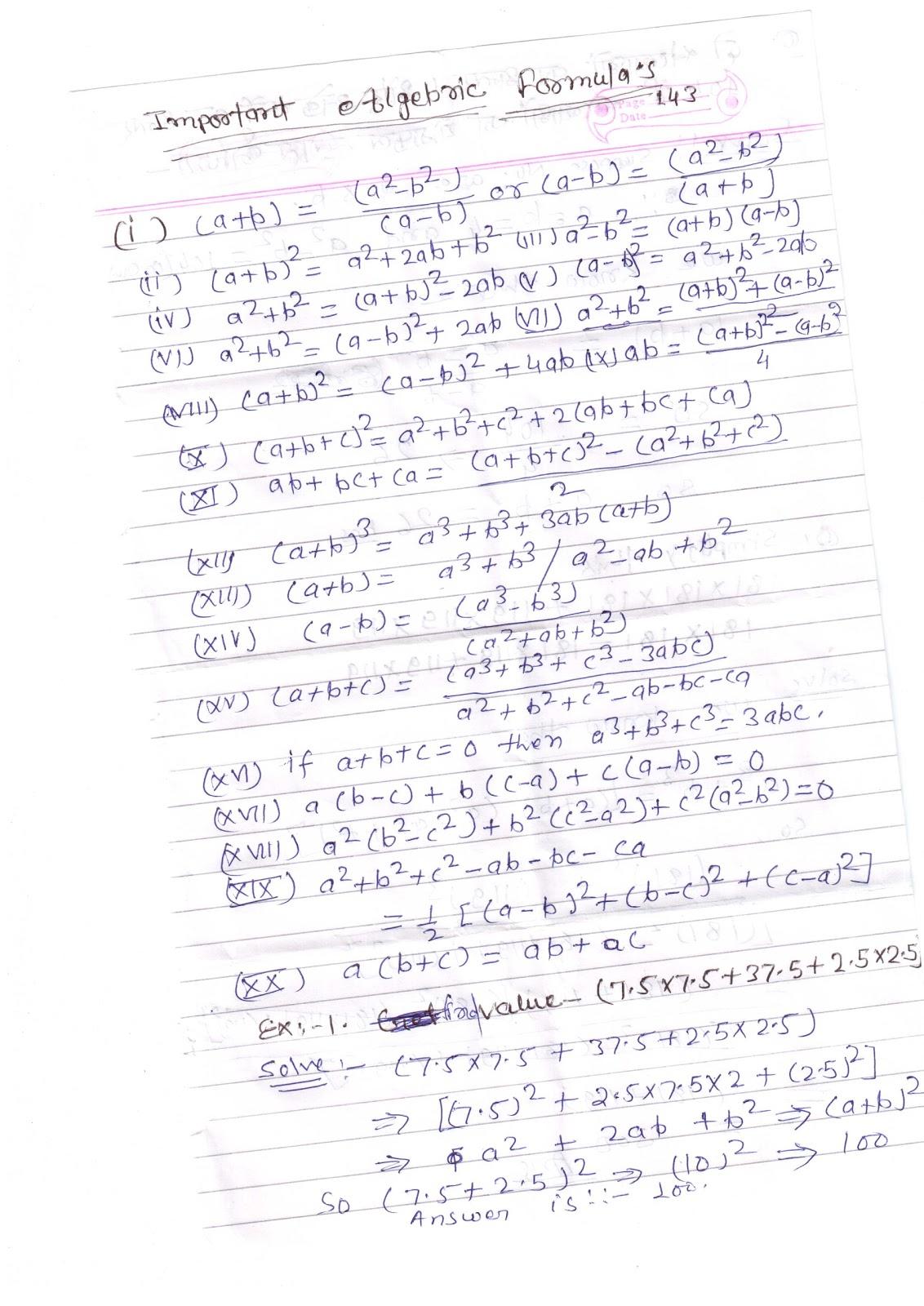 MATH & REASONING: Basic Algebric Formulas
