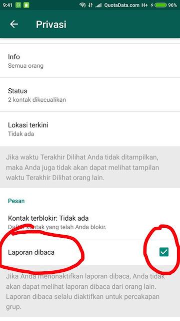 Trik Cara Menonaktifkan Centang Biru di Obrolan Whatsapp.