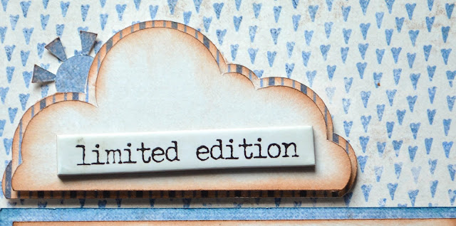 Blue boy scrapbook layout featuring Maja Denim and Friends papers, cricut cutting, cloud, airplane, wood, bunting banner, Tim Holtz Quote chips with plaid and stripes