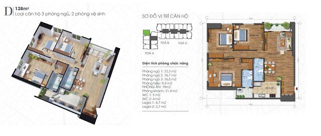 Thiết kế căn 128m - 3 phòng ngủ Ecolife Tây Hồ