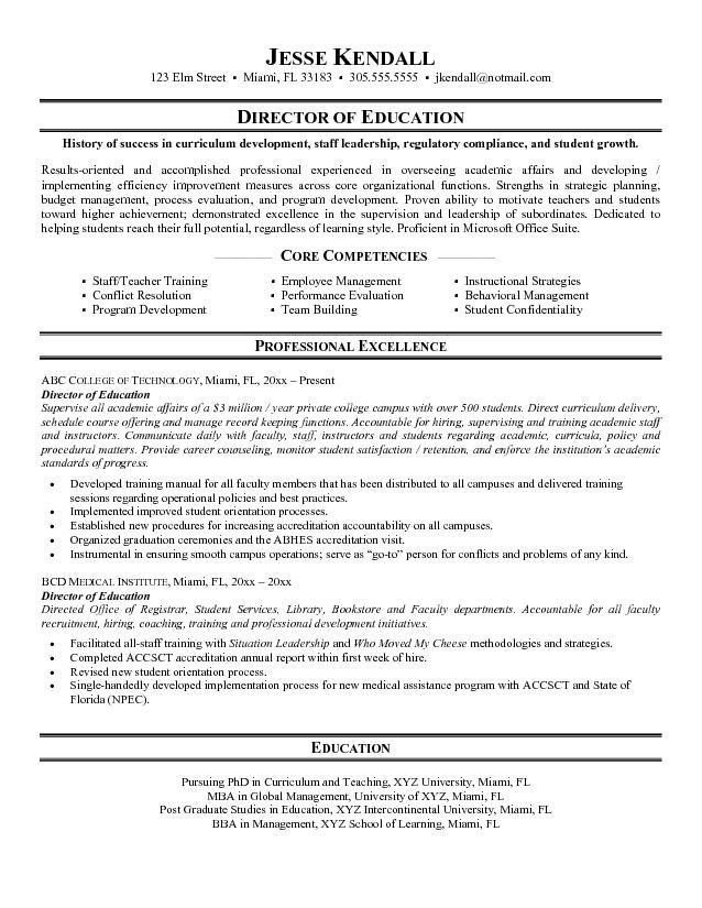 Sample Resume for Education  Sample Resumes