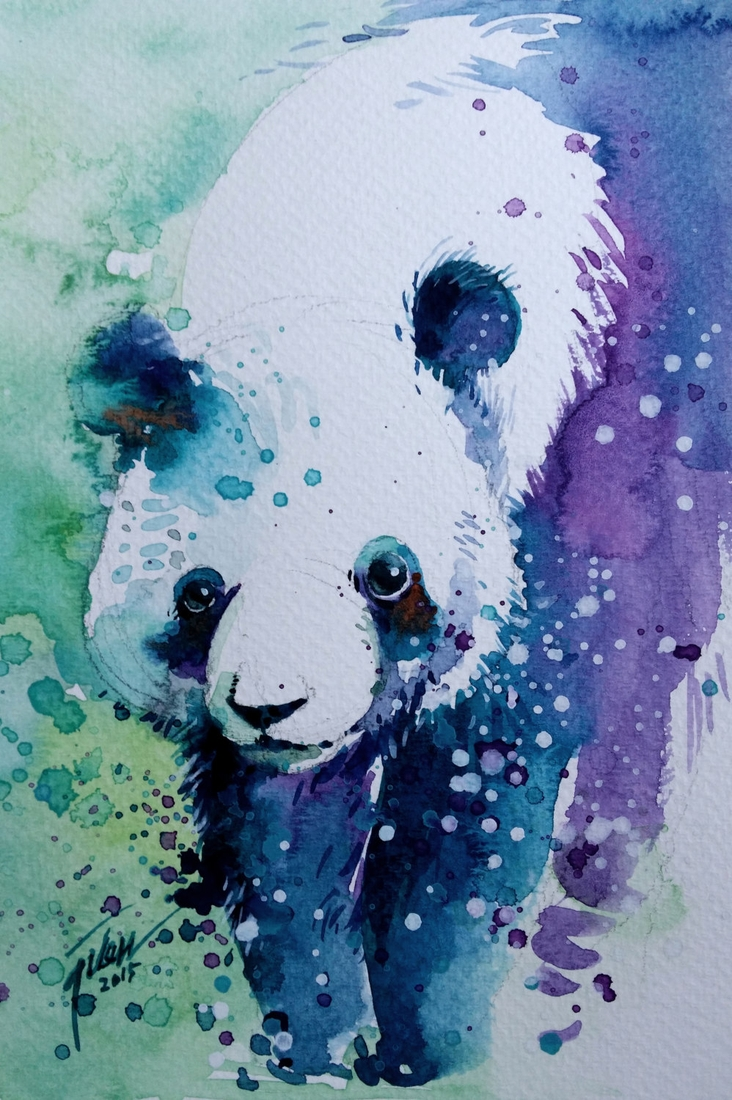 08-Panda-Tilen-Ti-Colorful-Watercolor-Paintings-of-Animals-www-designstack-co