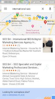"international targeted keywords phrase "" international seo "" top local 3 packs result on Google Maps"