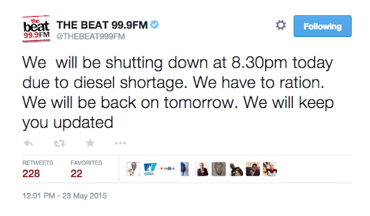 Nigeria Radio Station Shuts Down Activities Due To Fuel Scarcity.