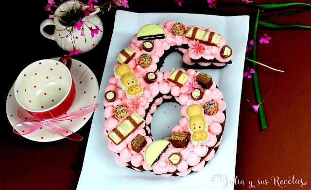 Tarta Adikosh o tarta de números con bizcocho de chocolate. Julia y sus recetas
