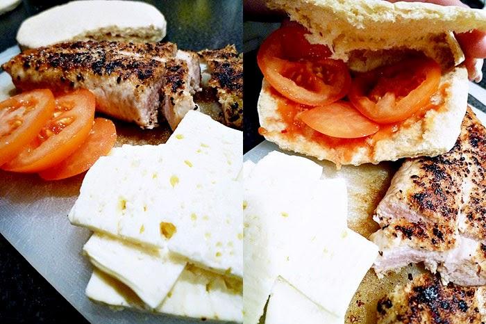 Barbecue-Hühnerpita mit Feta