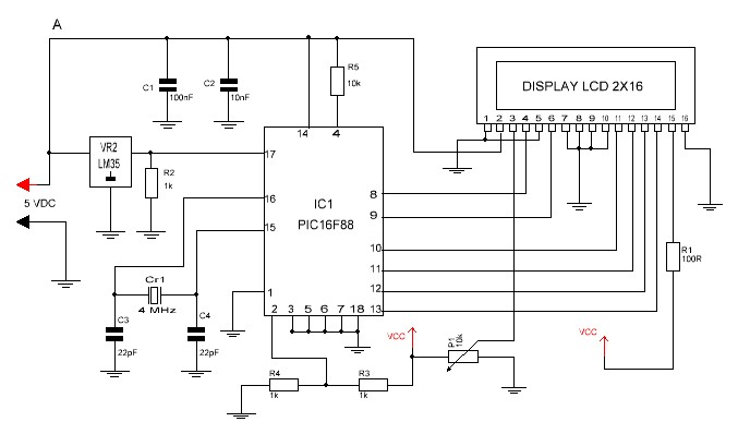 Termómetro con PIC16F88 diagrama electrónico.