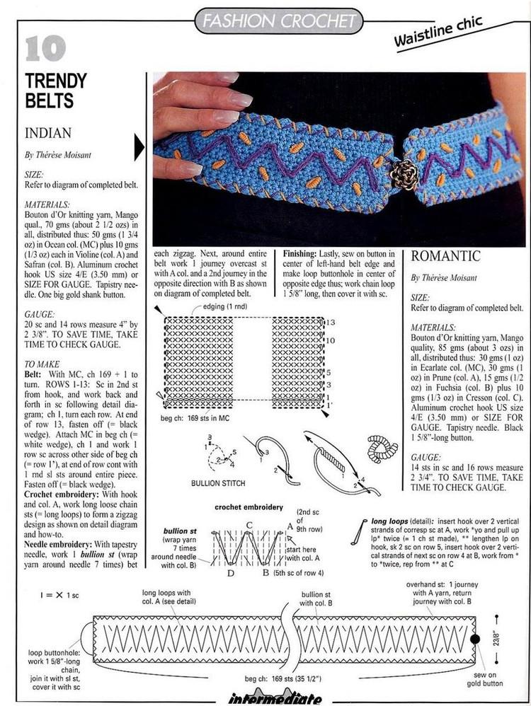 2 Cinturones de Crochet con Puntadas