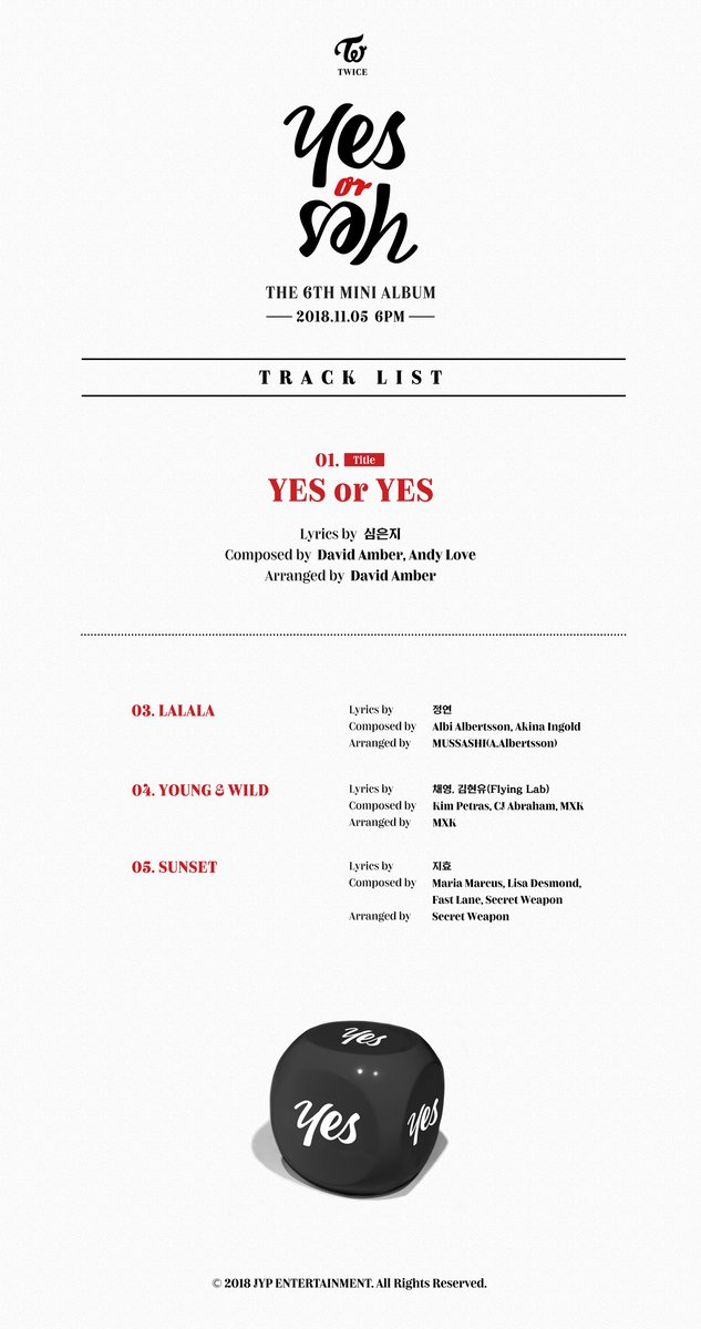 TWICE Releases The Tracklist of Their Mini Album 'Yes or Yes'