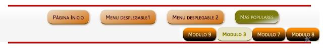 Ejemplo de menú de navegación desplegable horizontalmente
