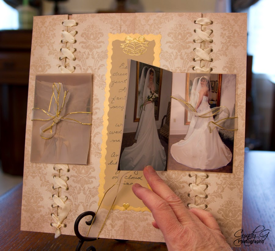 close up of picture book on scrapbook page
