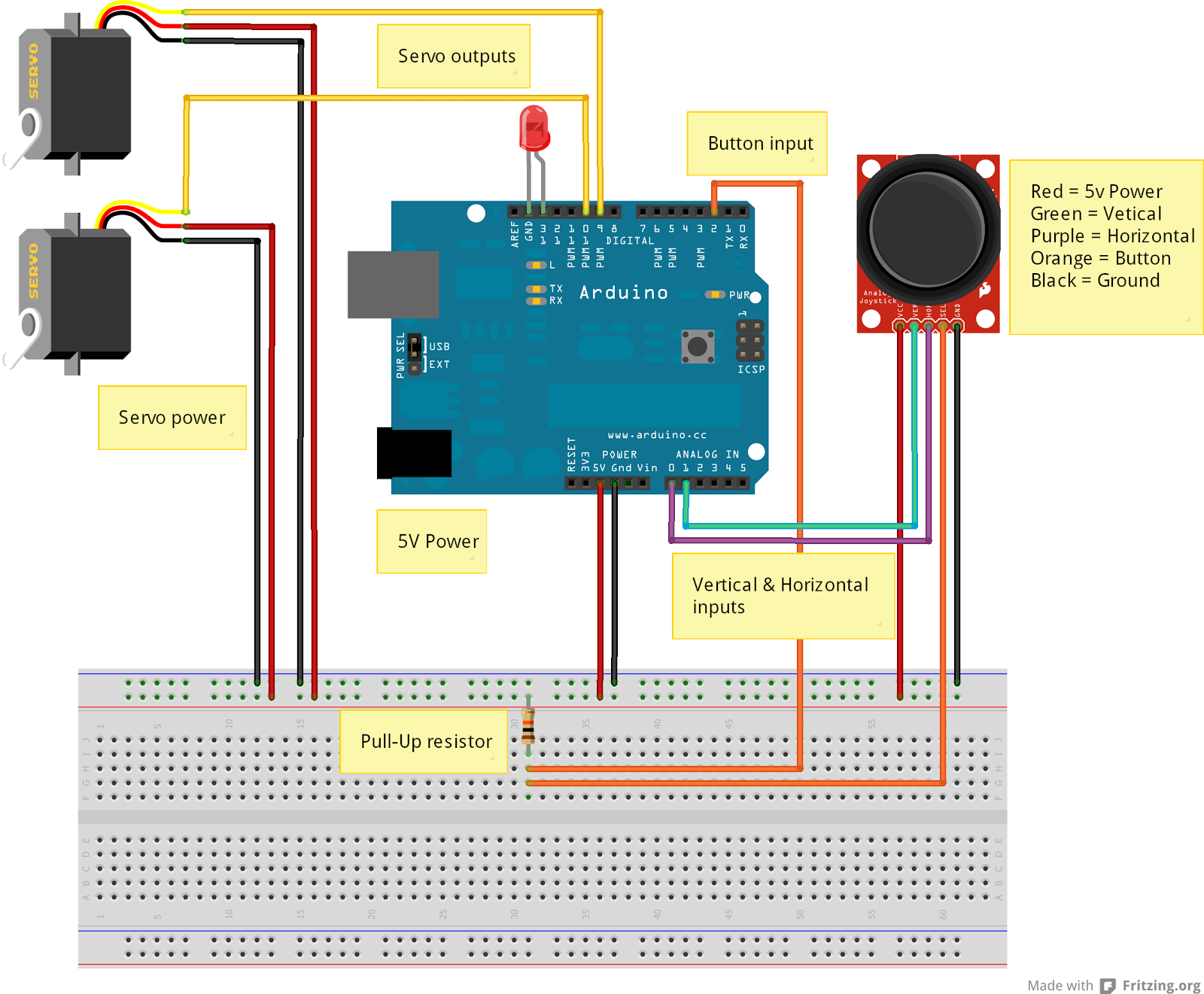 Second Project- Servos and Joystick   Learning With Arduino