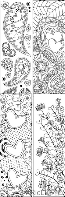 Valentines Coloring Bookmarks set 1