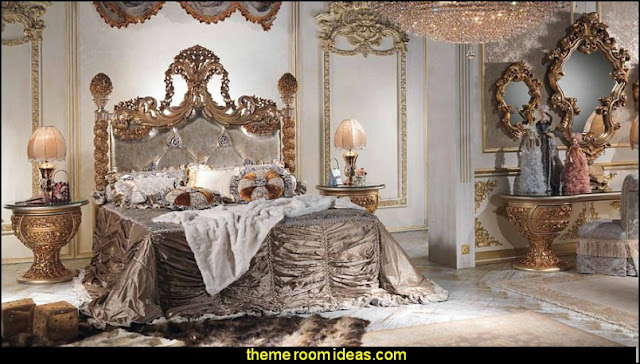 Luxury bedroom designs - Marie Antoinette Style theme decorating ideas - French provincial furniture baroque style - Louis XVI furniture - Rococo furniture - baroque furniture - marie antoinette bedroom ideas - marie antoinette bedroom furniture