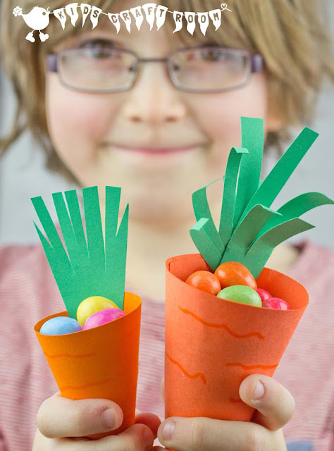 7 fun carrot crafts, cute and creative ideas for spring or to add to Easter activities.  Kid-friendly and quick spring carrot projects.