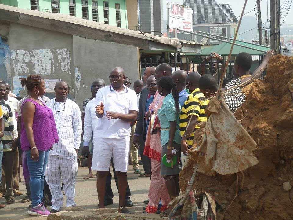 Governor Fayose rocks pair of shorts as he inspects projects in Ekiti