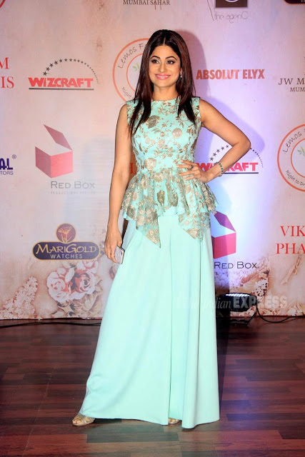 Shamita Shetty in Blue Palazzo Pants At Vikram Phadnis 25th Anniversary Show