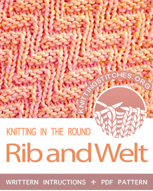 Circular Knitting - Rib and Welt stitch pattern. Techniques Used: Working in the round, knitting, purling.