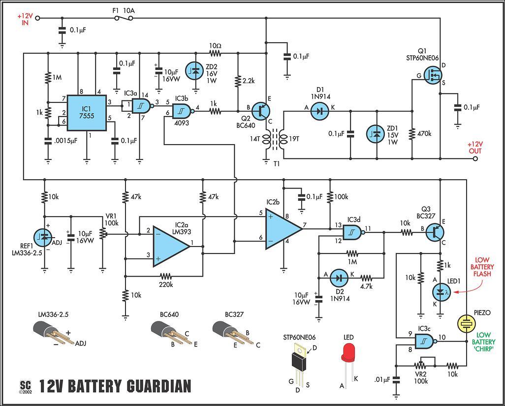 June 2012 Circuits Projects 20w Bridge Amplifier Using Tda7240a Schematic Design 12 Volt Battery Guardian