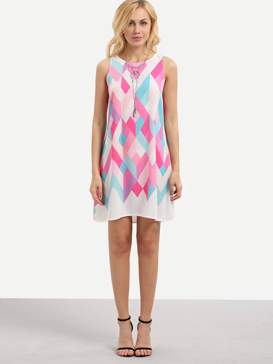 Multicolor Geometric Print Sleeveless Shift Dress