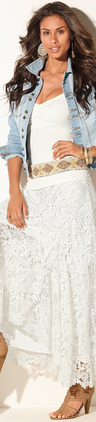 Boston Proper Lace Boho Maxi Skirt