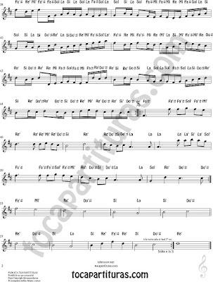 2 Partitura con Notas del Canon de Pachelbel fácil nivel medio