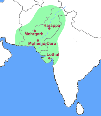 Map of the Indus Valley civilization, showing some of the important sites.