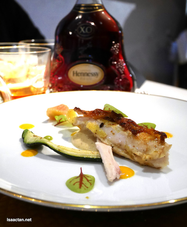 Organic chicken : Bertutu spice : Celeriac-carotene sauce : Grilled heirloom parsnips