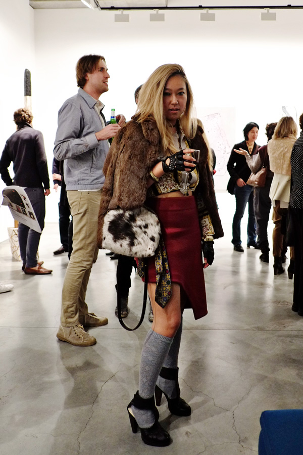 Genevieve Bernadette Craig furs and knee high socks at Liverpool Street Gallery. Street Fashion Sydney - Photographed by Kent Johnson.