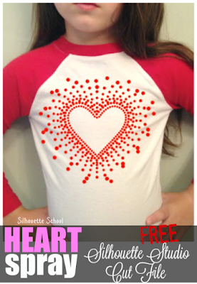 Silhouette Studio, free cut file, heart spray