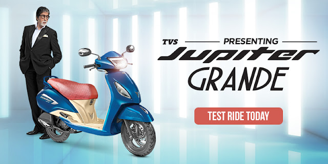 TVS Jupiter Grande Edition Starlight Blue colour