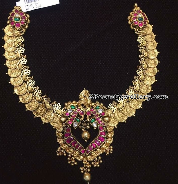 Antique Kasu Necklace with Kundan Locket