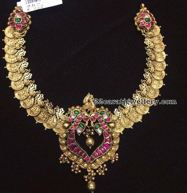 Antique Kasu Necklace with Kundan Locket