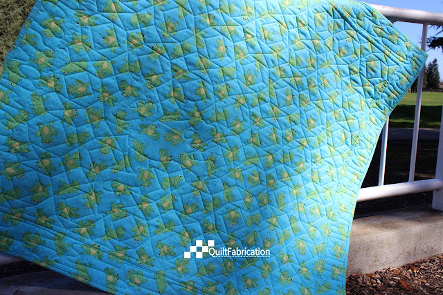 Hoppy green quilt back