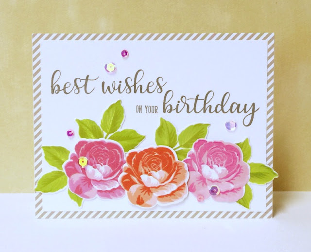 Sunny Studio Stamps: Everything's Rosy Everyday Greetings Birthday Card by Donna Mikasa
