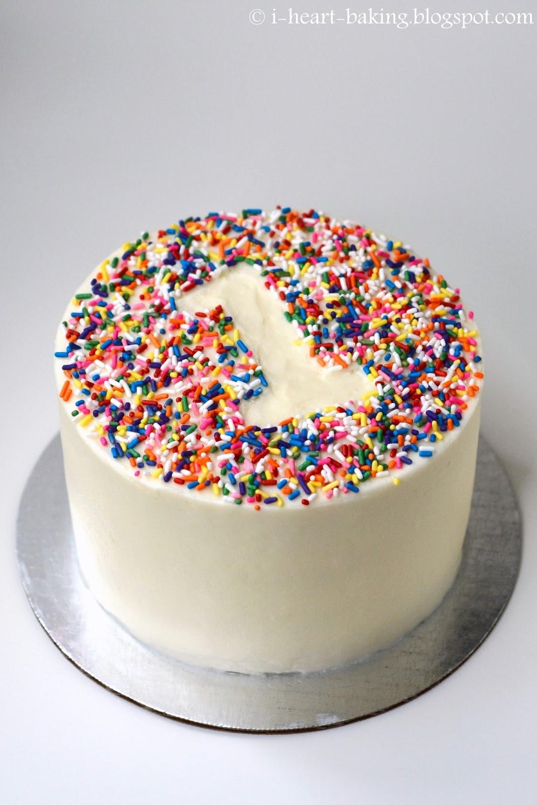 I Heart Baking Rainbow Sprinkle First Birthday Smash Cake