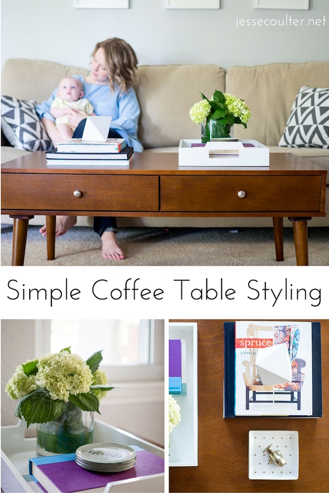 Simple Coffee Table, Styling a Coffee Table, MCM coffee table, home decor, living room decor, coffee table, coffee table decor