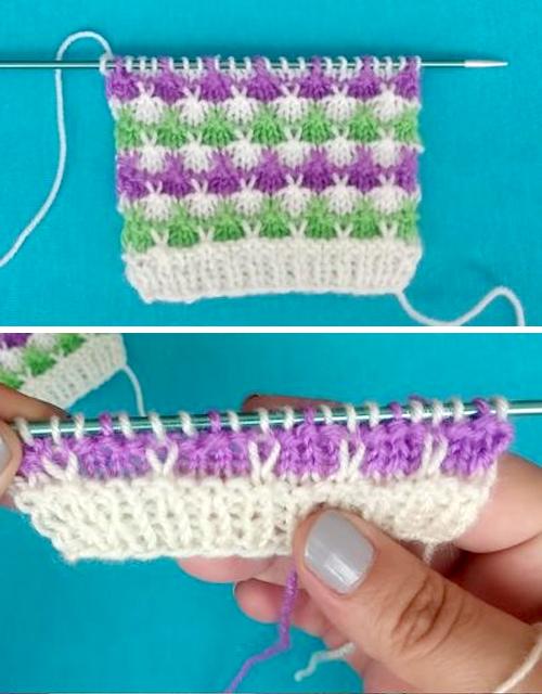Colorful Rabbit Ears Knitting Stitch - Tutorial