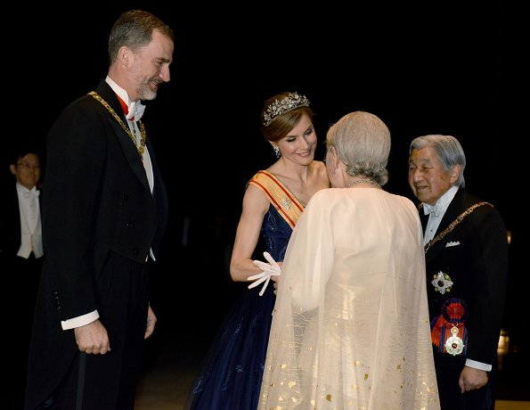 King Felipe VI and Queen Letizia attend the state banquet hosted by Japanese Emperor Akihito and Empress Michiko at the Imperial Palace. Letiza wore a navy blue gown and diamond tiara