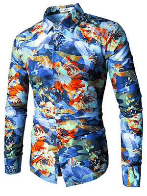Ericdress Lapel Long Sleeve Print Color Block Men's Shirt