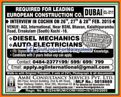 European Construction Company jobs for Dubai - Gulf Jobs for Malayalees
