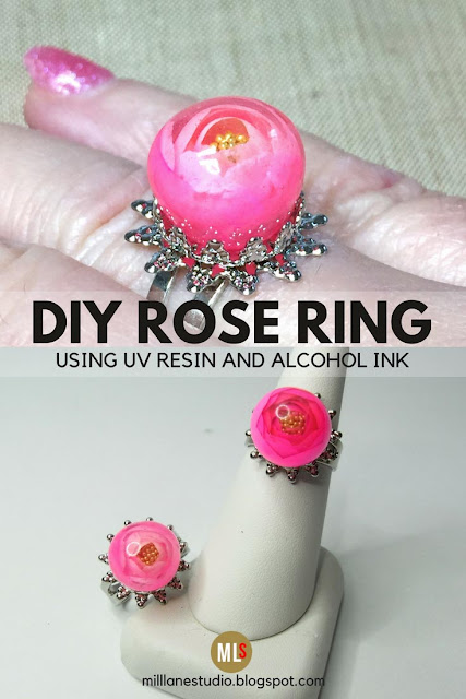 DIY Resin Rose Ring inspiration sheet.