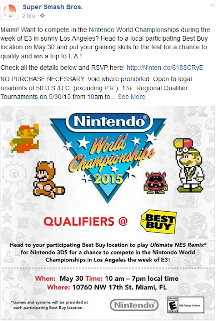 Nintendo World Championships Miami qualifiers Best Buy 2015 Facebook Super Smash Bros. location flier information