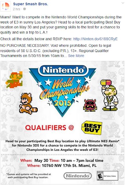 Nintendo World Championships Miami qualifiers Best Buy 2015 Facebook Super Smash Bros. location flier information