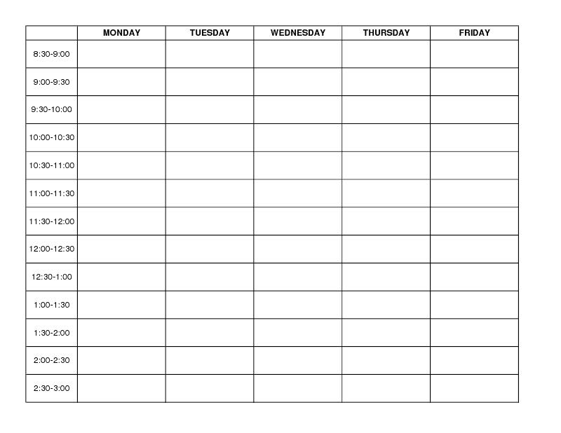 Week Schedule Template Word weekly schedule template free – Word Template Weekly Calendar