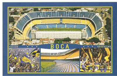Cartão postal com fotos do estádio do Boca Junior - La bombonera