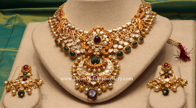 Polki Grand Necklace Chandbalis
