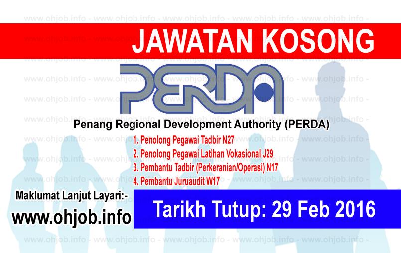 Jawatan Kerja Kosong Penang Regional Development Authority (PERDA) logo www.ohjob.info februari 2016