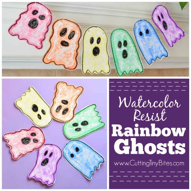 Halloween Rainbow Ghost Garland Craft with Watercolor Resist.  Fun art project for toddlers, preschoolers, or elementary kids for Halloween- bright and cheerful, not spooky!