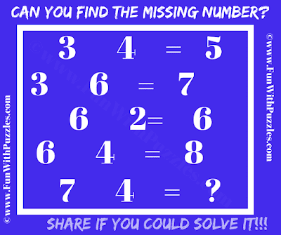 This  is an interesting Math Brain Puzzle in which you have to find the missing number